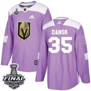Wholesale Cheap Adidas Golden Knights #35 Oscar Dansk Purple Authentic Fights Cancer 2018 Stanley Cup Final Stitched Youth NHL Jersey