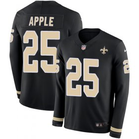 Wholesale Cheap Nike Saints #25 Eli Apple Black Team Color Men\'s Stitched NFL Limited Therma Long Sleeve Jersey