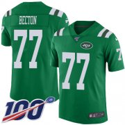 Wholesale Cheap Nike Jets #77 Mekhi Becton Green Youth Stitched NFL Limited Rush 100th Season Jersey