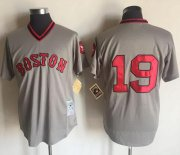 Wholesale Cheap Mitchell And Ness Red Sox #19 Fred Lynn Grey Throwback Stitched MLB Jersey