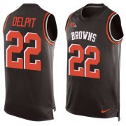 Wholesale Cheap Nike Browns #22 Grant Delpit Brown Team Color Men's Stitched NFL Limited Tank Top Jersey