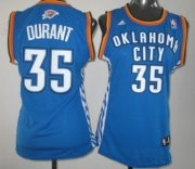 Wholesale Cheap Oklahoma City Thunder #35 Kevin Durant Blue Womens Jersey