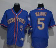 Wholesale Cheap Mets #5 David Wright Blue(Grey NO.) Flexbase Authentic Collection Stitched MLB Jersey