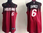 Wholesale Cheap Miami Heat #6 LeBron James Black/Red Resonate Fashion Jersey