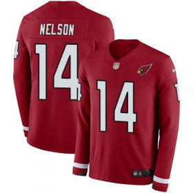 Wholesale Cheap Nike Cardinals #14 J.J. Nelson Red Team Color Men\'s Stitched NFL Limited Therma Long Sleeve Jersey