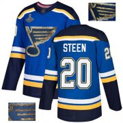 Wholesale Cheap Adidas Blues #20 Alexander Steen Blue Home Authentic Fashion Gold Stanley Cup Champions Stitched NHL Jersey