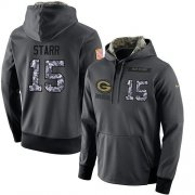 Wholesale Cheap NFL Men's Nike Green Bay Packers #15 Bart Starr Stitched Black Anthracite Salute to Service Player Performance Hoodie