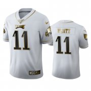 Wholesale Cheap Philadelphia Eagles #11 Carson Wentz Men's Nike White Golden Edition Vapor Limited NFL 100 Jersey