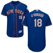 Wholesale Cheap Mets #18 Travis d'Arnaud Blue(Grey NO.) Flexbase Authentic Collection Stitched MLB Jersey