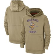Wholesale Cheap Men's Minnesota Vikings Nike Tan 2019 Salute to Service Sideline Therma Pullover Hoodie