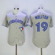 Wholesale Cheap Blue Jays #19 Paul Molitor Grey Flexbase Authentic Collection Stitched MLB Jersey