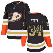 Wholesale Cheap Adidas Ducks #34 Sam Steel Black Home Authentic Drift Fashion Stitched NHL Jersey