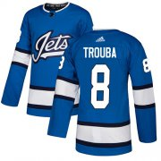 Wholesale Cheap Adidas Jets #8 Jacob Trouba Blue Alternate Authentic Stitched NHL Jersey