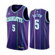 Wholesale Cheap Nike Hornets #5 Nicolas Batum Purple 2019-20 Classic Edition Stitched NBA Jersey