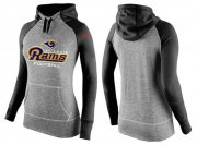 Wholesale Cheap Women's Nike Los Angeles Rams Performance Hoodie Grey & Black