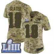 Wholesale Cheap Nike Patriots #18 Matt Slater Camo Super Bowl LIII Bound Women's Stitched NFL Limited 2018 Salute to Service Jersey