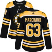 Wholesale Cheap Adidas Bruins #63 Brad Marchand Black Home Authentic Women's Stitched NHL Jersey