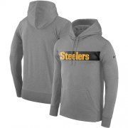 Wholesale Cheap Men's Pittsburgh Steelers Nike Gray Sideline Team Performance Pullover Hoodie