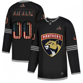 Wholesale Cheap Florida Panthers Custom Adidas Men\'s Black USA Flag Limited NHL Jersey
