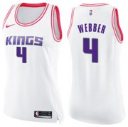 Wholesale Cheap Women's Sacramento Kings #4 Chris Webber White Pink NBA Swingman Fashion Jersey