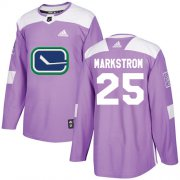 Wholesale Cheap Adidas Canucks #25 Jacob Markstrom Purple Authentic Fights Cancer Youth Stitched NHL Jersey