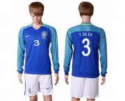 Wholesale Cheap Brazil #3 T.Silva Away Long Sleeves Soccer Country Jersey