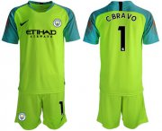 Wholesale Cheap Manchester City #1 C.Bravo Shiny Green Goalkeeper Soccer Club Jersey