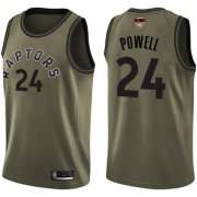 Wholesale Cheap Raptors #24 Norman Powell Green Salute to Service 2019 Finals Bound Basketball Swingman Jersey