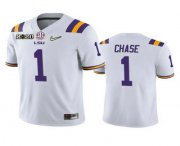 Wholesale Cheap Men's LSU Tigers #1 Ja'Marr Chase White 2020 National Championship Game Jersey