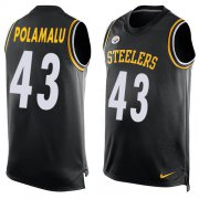 Wholesale Cheap Nike Steelers #43 Troy Polamalu Black Team Color Men's Stitched NFL Limited Tank Top Jersey