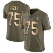 Wholesale Cheap Nike Saints #75 Andrus Peat Olive/Gold Youth Stitched NFL Limited 2017 Salute To Service Jersey