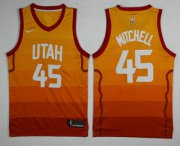 Wholesale Cheap Men's Utah Jazz #45 Donovan Mitchell Yellow Nike 2017-2018 NBA Swingman City Edition Jersey