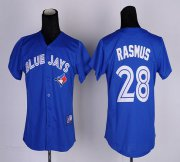 Wholesale Blue Jays #28 Colby Rasmus Blue Women's Fashion Stitched Baseball Jersey