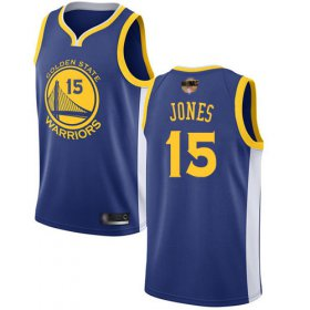 Wholesale Cheap Warriors #15 Damian Jones Blue 2019 Finals Bound Basketball Swingman Icon Edition Jersey