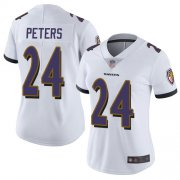 Wholesale Cheap Nike Ravens #24 Marcus Peters White Women's Stitched NFL Vapor Untouchable Limited Jersey