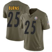 Wholesale Cheap Nike Steelers #25 Artie Burns Olive Youth Stitched NFL Limited 2017 Salute to Service Jersey