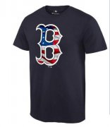 Wholesale Cheap Men's Boston Red Sox USA Flag Fashion T-Shirt Navy Blue