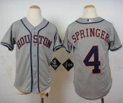 Wholesale Cheap Astros #4 George Springer Grey Cool Base Stitched Youth MLB Jersey