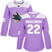 Wholesale Cheap Adidas Sharks #22 Jonny Brodzinski Purple Authentic Fights Cancer Women's Stitched NHL Jersey