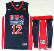 Wholesale Cheap USA Basketball 1992 Olympic Dream Team #12 John Stockton Blue Jerseys & Shorts