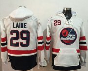 Wholesale Cheap Jets #29 Patrik Laine White Name & Number Pullover NHL Hoodie