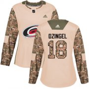 Wholesale Cheap Adidas Hurricanes #18 Ryan Dzingel Camo Authentic 2017 Veterans Day Women's Stitched NHL Jersey