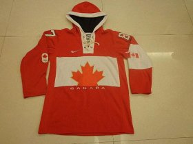 Wholesale Cheap Olympic CA. #87 Sidney Crosby Red Sawyer Hooded Sweatshirt Stitched NHL Jersey