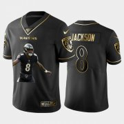 Wholesale Cheap Nike Baltimore Ravens #8 Lamar Jackson Black Gold Player Name Logo 100th Season Vapor Untouchable Limited Jersey