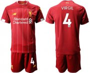 Wholesale Cheap Liverpool #4 Virgil Red Home Soccer Club Jersey