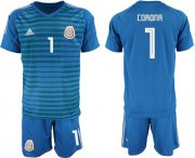 Wholesale Cheap Mexico #1 Corona Blue Goalkeeper Soccer Country Jersey