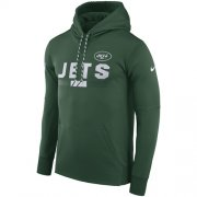 Wholesale Cheap Men's New York Jets Nike Green Sideline ThermaFit Performance PO Hoodie