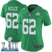 Wholesale Cheap Nike Eagles #62 Jason Kelce Green Super Bowl LII Women's Stitched NFL Limited Rush Jersey