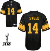Wholesale Cheap Steelers #14 Limas Sweed Black With Yellow Number Super Bowl XLV Stitched NFL Jersey