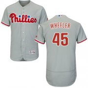 Wholesale Cheap Phillies #45 Zack Wheeler Grey Flexbase Authentic Collection Stitched MLB Jersey